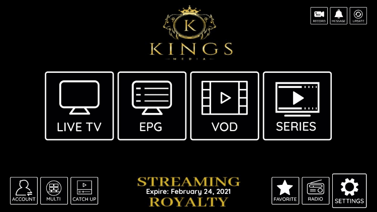 In the example below, we show how to integrate an external player within KingsMedia IPTV.