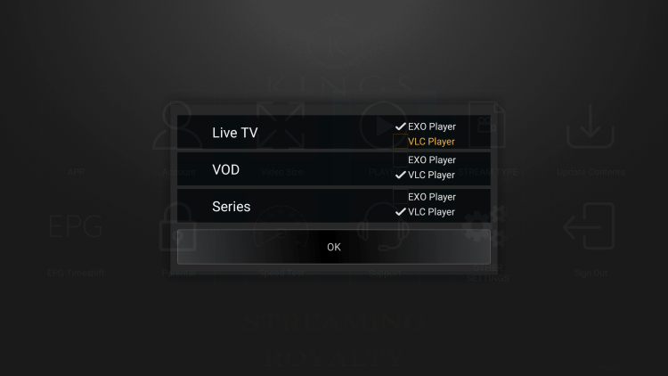 Since VLC is the only external player we are able to integrate within KingsMedia IPTV, choose that one.