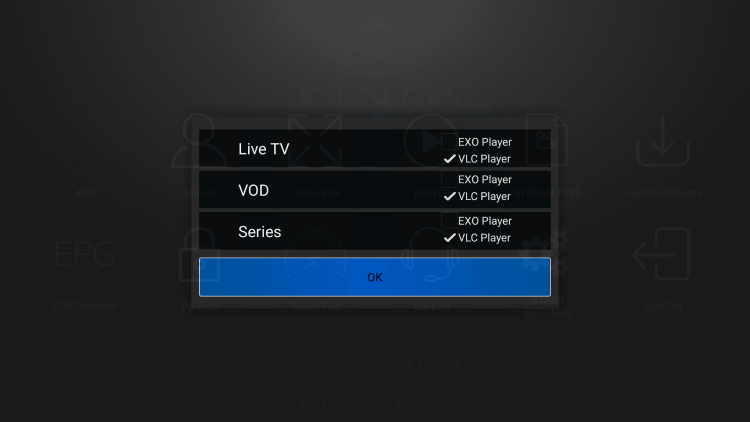 That's it! You can now integrate external video players within kingsmedia iptv