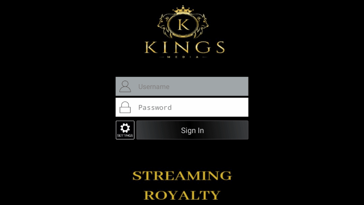 After you install the KingsMedia IPTV application on your streaming device, you enter your account login information on this screen.