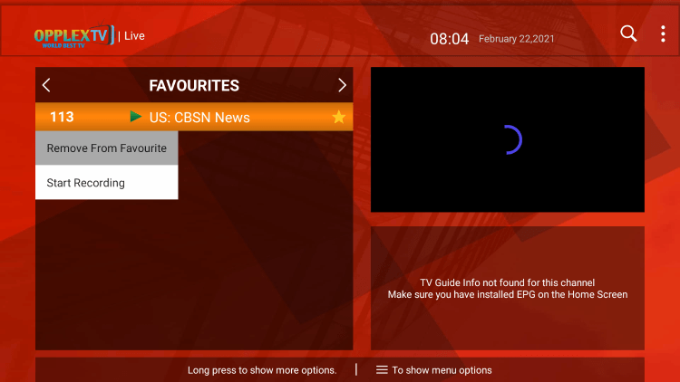 That's it! You can now add/remove channels from Favorites within opplextv iptv