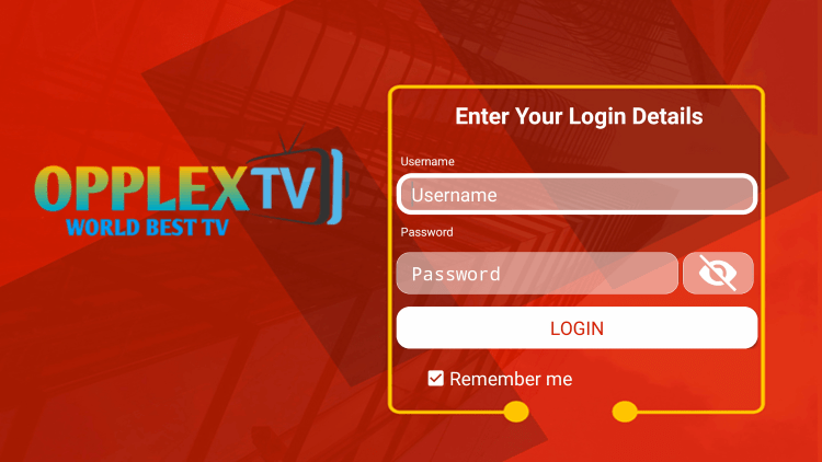 After you install the OpplexTV IPTV application on your streaming device, you enter your account login information on this screen.