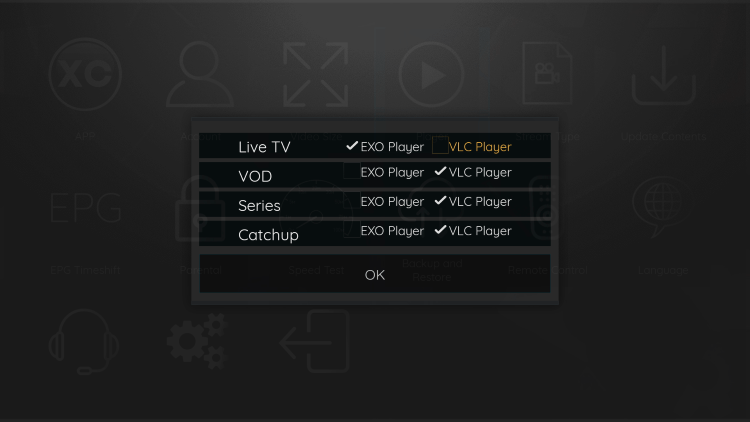 Since VLC is the only external player we are able to integrate within Phantom TV, choose that one.
