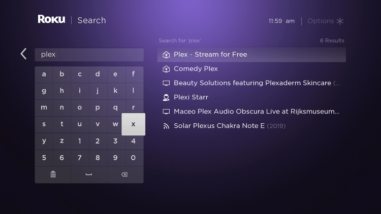 """Enter""""Plex live tv"""" within the search bar."""