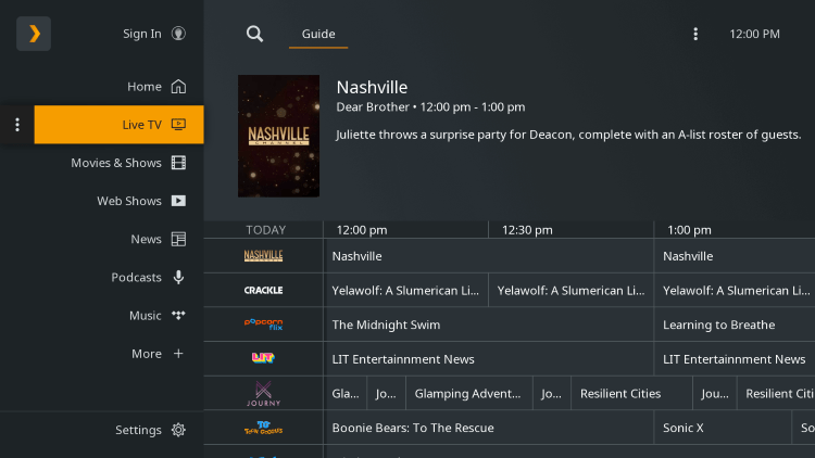 You have installed the Plex Live TV app on your Roku device.