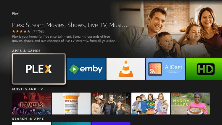 Click the option for Plex live tv under Apps & Games.