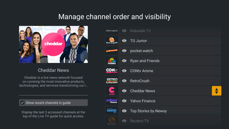 Choose any channel you prefer and click the sort toggle on the right.