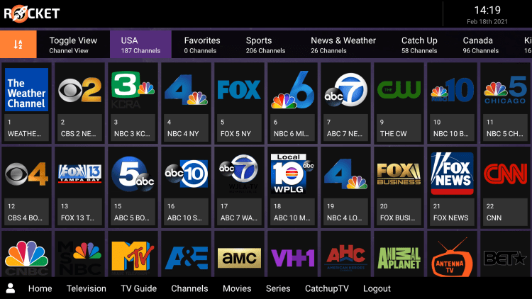 Rocket IPTV provides over 1,000 live channels starting for $24.00 per month with their standard subscription.