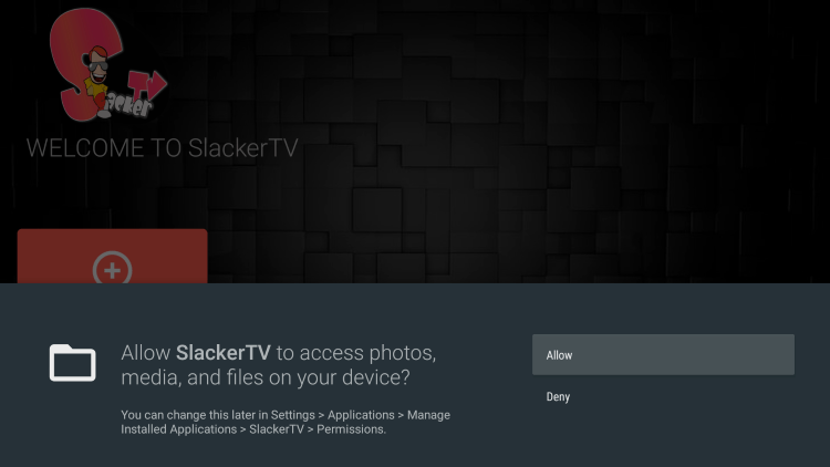 Launch the Slacker TV app and click Allow.