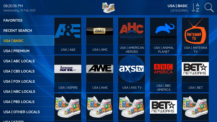 Sneakers IPTV provides over 6,000 live channels starting at $10/month with their standard plan.