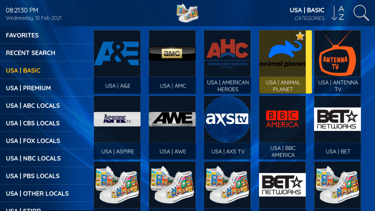 One of the best features within the Sneakers IPTV service is the ability to add channels to Favorites.