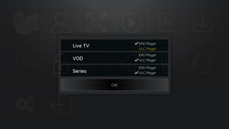 Since VLC is the only external player we are able to integrate within Sneakers IPTV, choose that one.