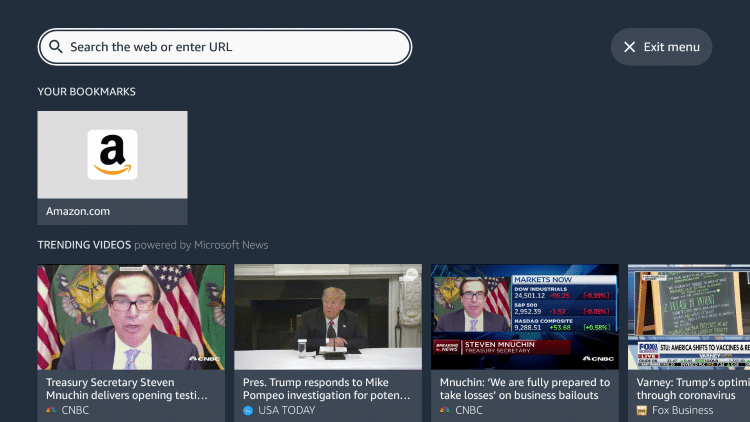 Launch the Silk Browser and click the search box.