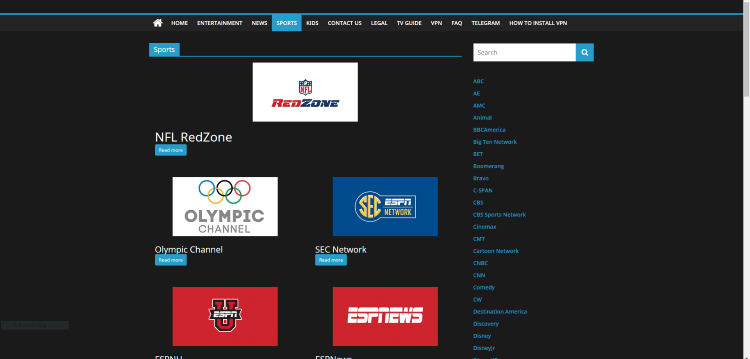 Some of the major sports channels are shown below.