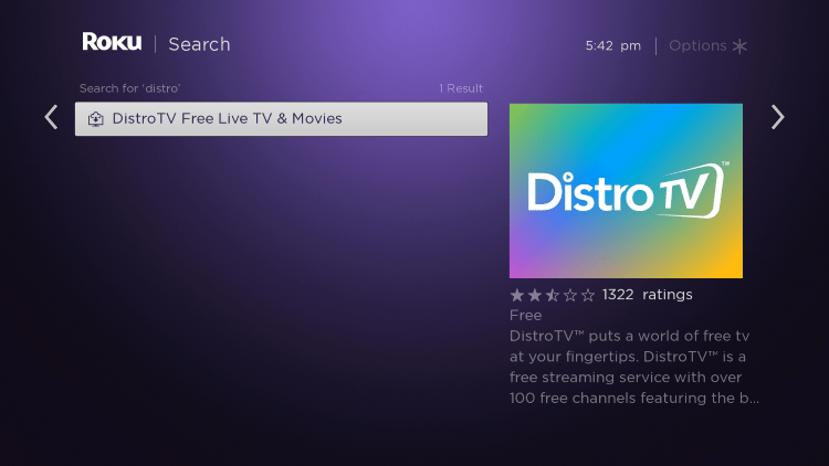 Scroll over and select the DistroTV channel.