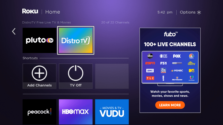 Return to the home screen and locate the Distrotv channel to launch it.