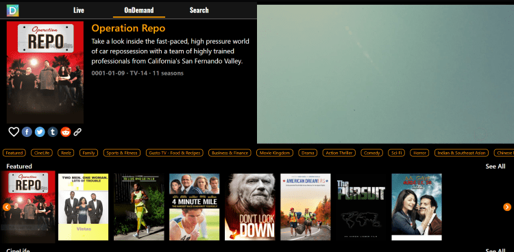 For accessing hundreds of free movies and TV series click the On-Demand option.