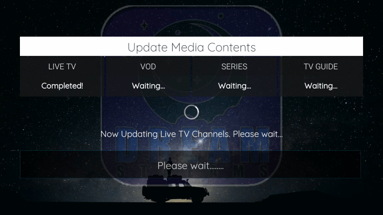 Wait a few seconds for the channels and other content to load.
