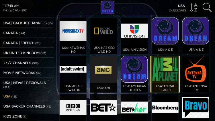 One of the best features within the Dream IPTV service is the ability to add channels to Favorites.