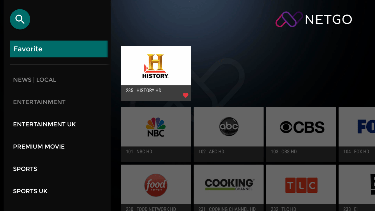 One of the best features of the Falcon TV IPTV service is the ability to add channels to Favorites.