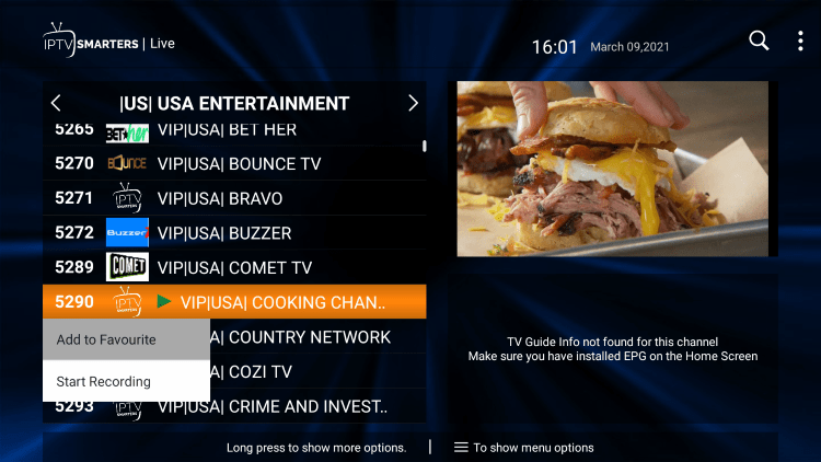 One of the best features within the Hawks TV IPTV service is the ability to add channels to Favorites.