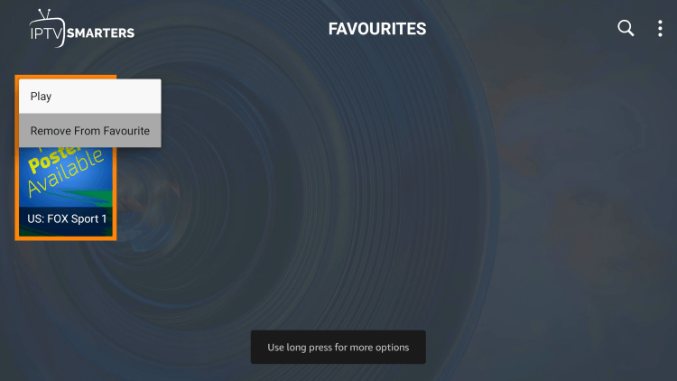 If you want to remove a channel from your Favorites, hover over a channel and hold down the OK button on your remote and click Remove from Favourite.