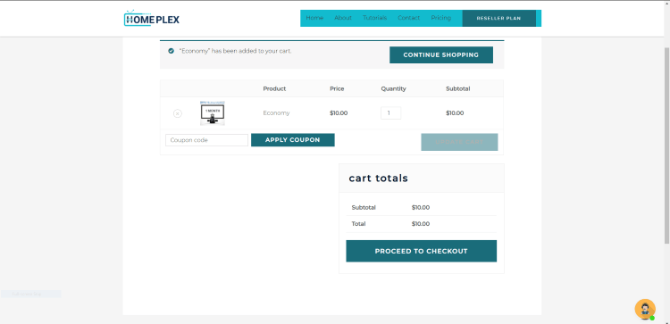 You are then redirected to the Cart page. Review your plan and click Proceed to checkout.