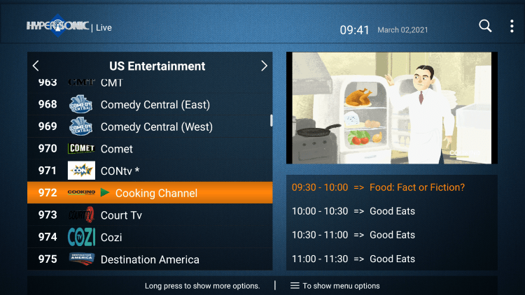One of the best features of the Hypersonic TV service is the ability to add channels to Favorites.