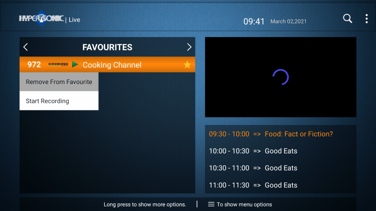 That's it! You can now add/remove channels from Favorites within hypersonic tv