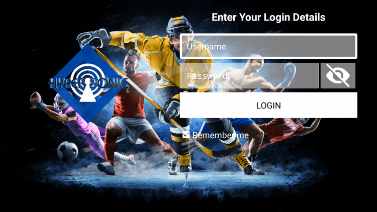 After you install the Hypersonic TV application on your streaming device, you enter your account login information on this screen.