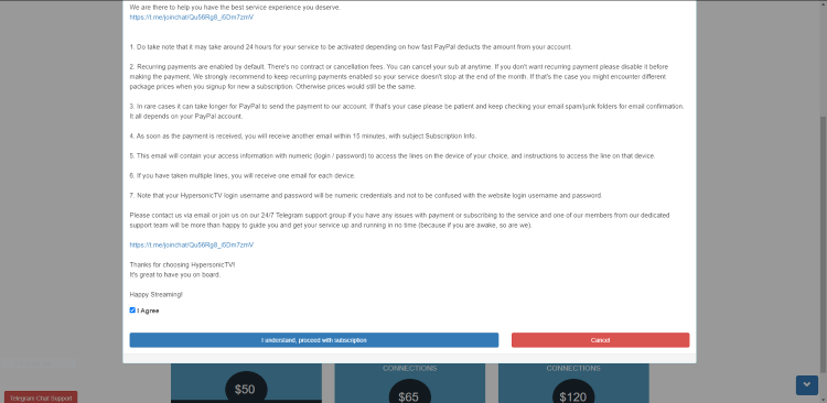 Check the I Agree box and click proceed with subscription.