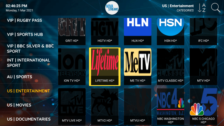 One of the best features within the Nova IPTV service is the ability to add channels to Favorites.