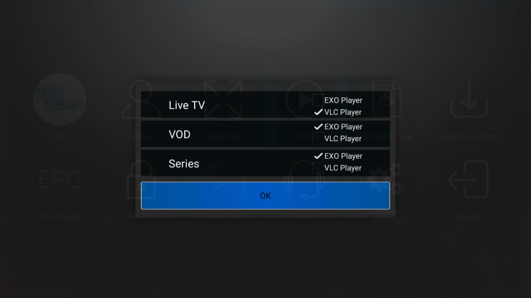 That's it! You can now integrate external video players within nova iptv