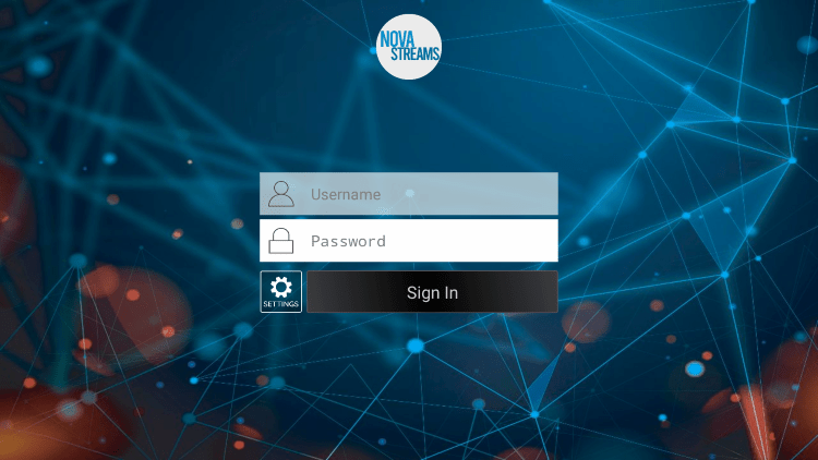 After you install the Nova IPTV application on your streaming device, you enter your account login information on this screen.