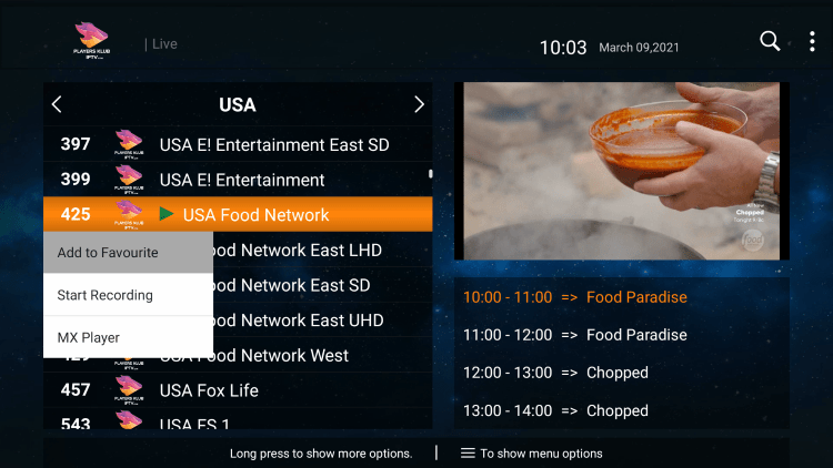 One of the best features within the Players Klub IPTV service is the ability to add channels to Favorites.