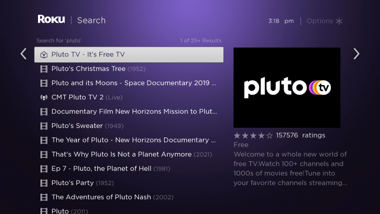 Scroll over and select the Pluto TV channel.