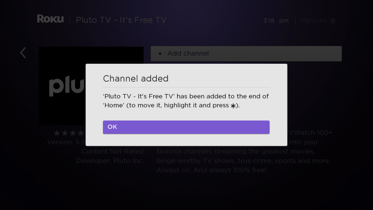 Wait a few seconds for the channel process and click OK when finished.
