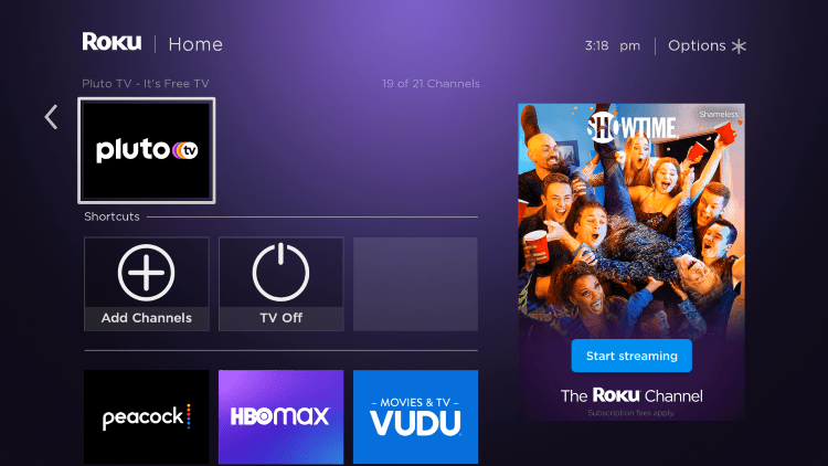 Return to the home screen and locate the Pluto TV channel to launch it.