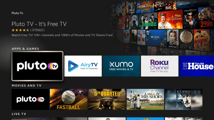 Click the option for Pluto TV apk under Apps & Games.