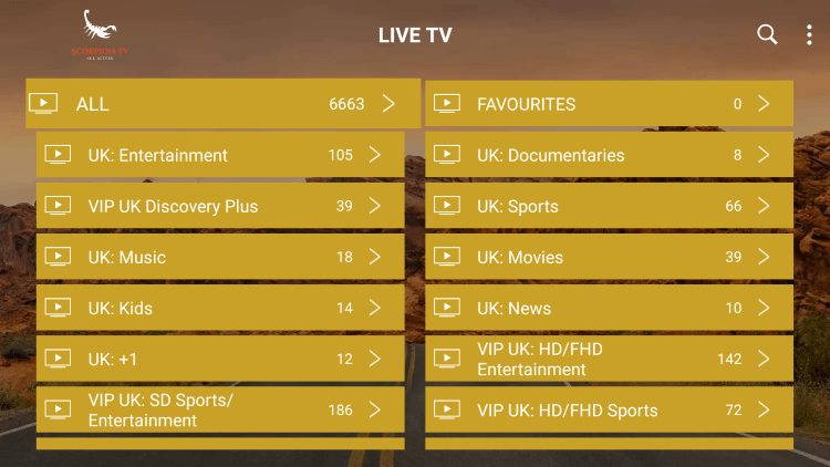 scorpion tv iptv channels