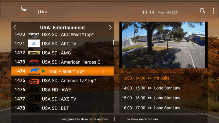 One of the best features of the Scorpion TV IPTV service is the ability to add channels to Favorites.