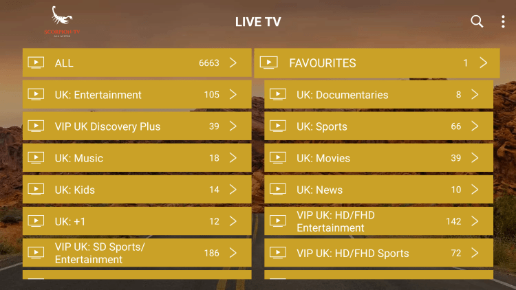 Return back to the channel category list and click Favourites.