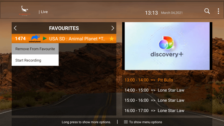 That's it! You can now add/remove channels from Favorites within scorpion tv iptv