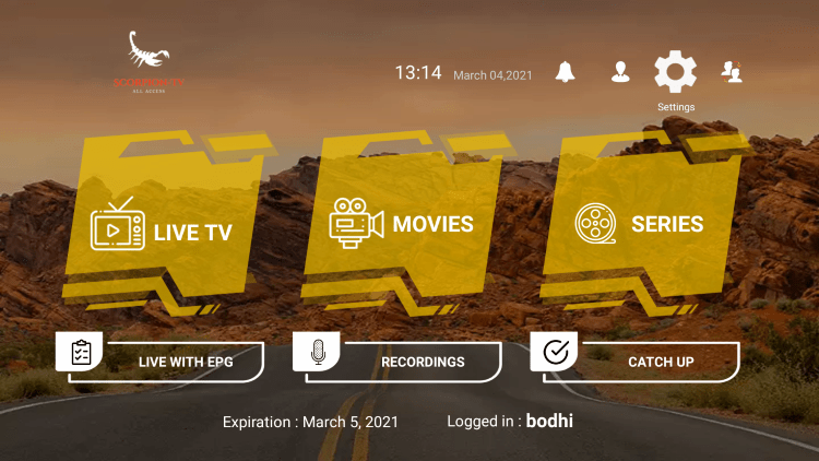 In the example below, we show how to integrate an external player within Scorpion TV IPTV.