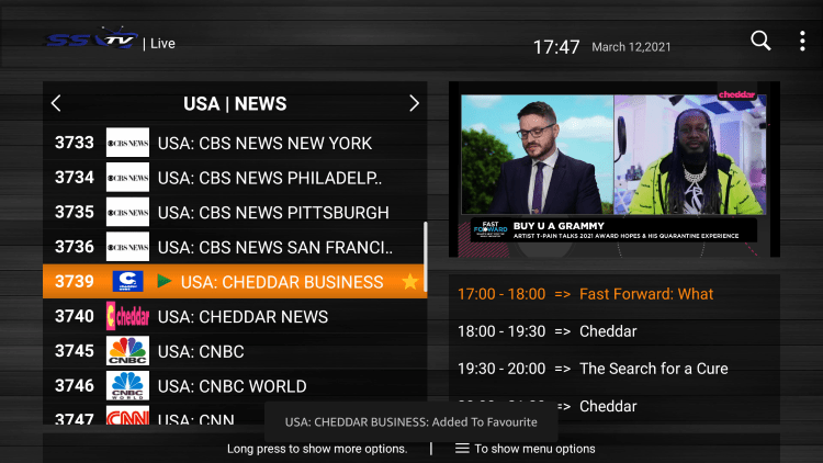 One of the best features of the SSTV IPTV service is the ability to add channels to Favorites.