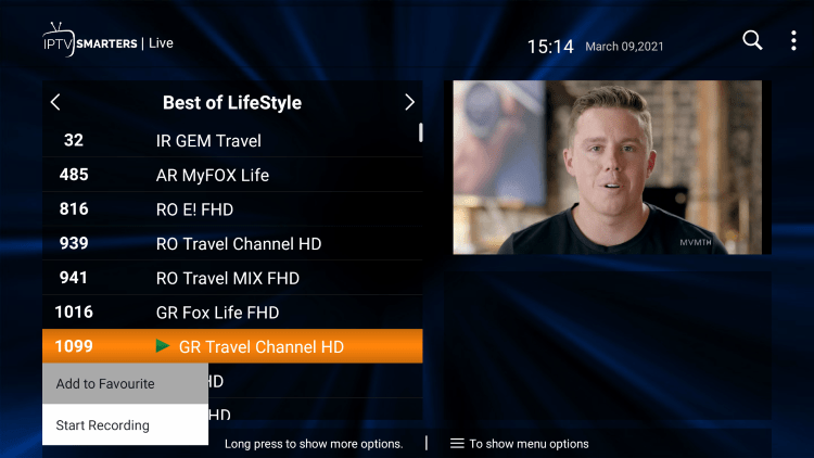 One of the best features within the Thunder IPTV service is the ability to add channels to Favorites.