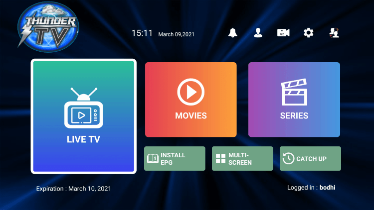 In the example below, we show how to integrate an external player within Thunder IPTV.