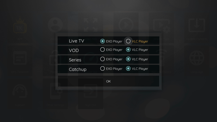 Since VLC is the only external player we are able to integrate within TV Kings, choose that one.