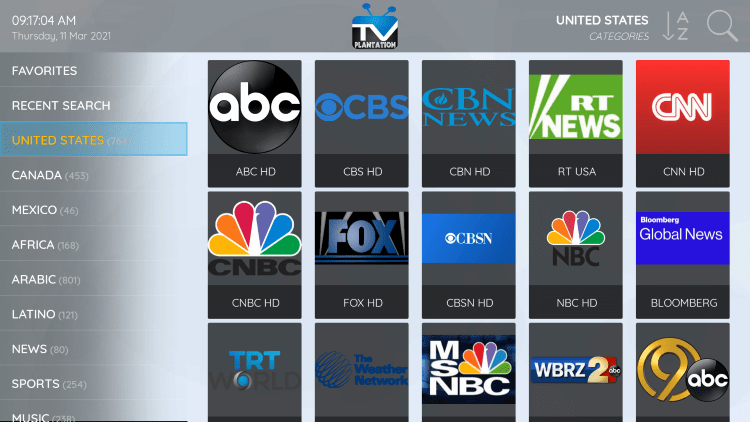TV Plantation provides over 4,000 live channels starting at $15.00/month with their standard plan.