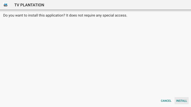 Click Install tv plantation